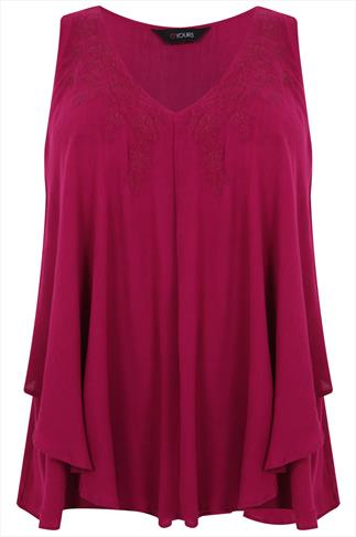 Dark Pink V-Neck Frill Blouse With Embroidered Detail