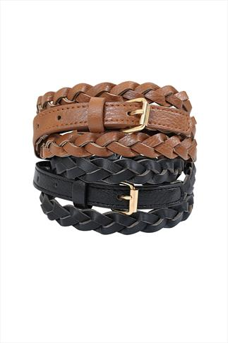 2 Pack Black & Tan Skinny PU Plaited Jean Belt