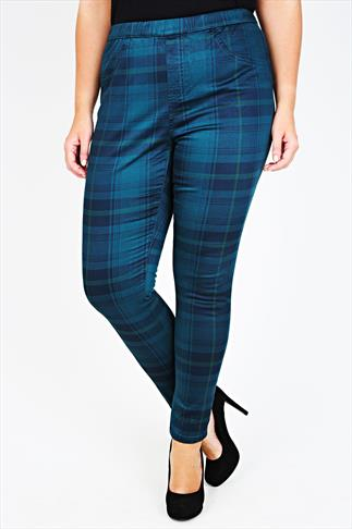 Teal And Navy Tartan Check Jegging