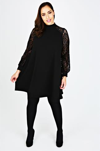 Black High Neck Swing Dress With Lace Long Sleeves