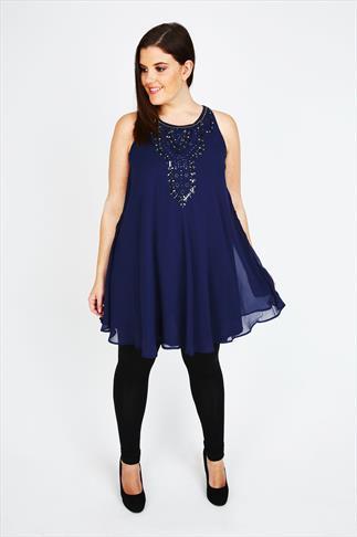 Navy Chiffon Sleeveless Swing Tunic Dress With Embellishment
