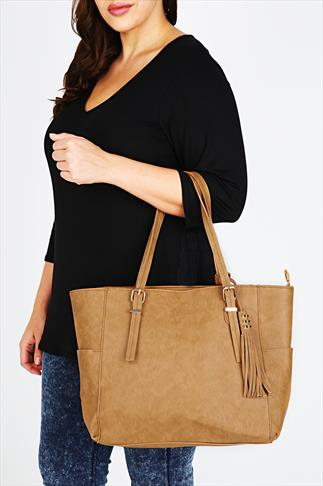 Tan Oversized Tote Bag With Gold Stud & Tassel Detail