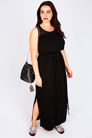 Black Sleeveless Maxi Dress With Mesh Shoulder Panel