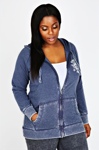 Blue Acid Wash Hoodie With Zip Front