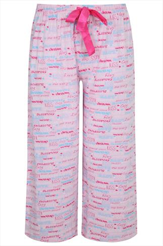 Pink Graffiti Print Pyjama Full Length Bottoms