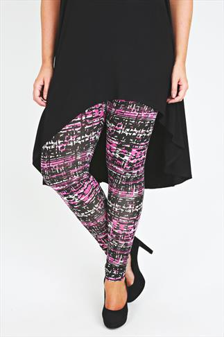 Black & Pink Print Viscose Elastane Leggings