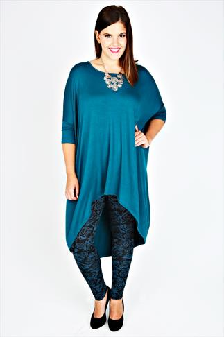 Teal Oversized Top With Extreme Dipped Hem