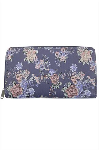 Purple Floral Zip Around Purse