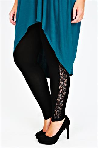 Black Full Length Leggings With Lace Side Trim