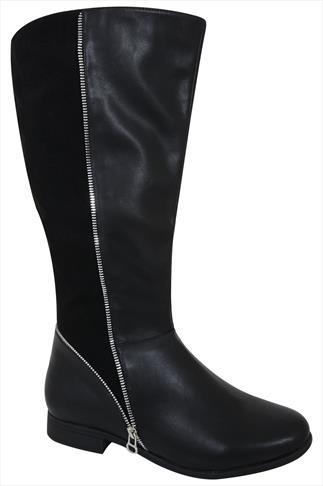 Black Zip Detail Knee High Riding Boot In EEE Fit
