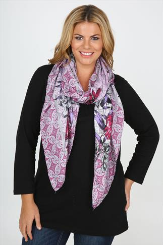 Magenta, Lilac And Grey Floral Print Scarf