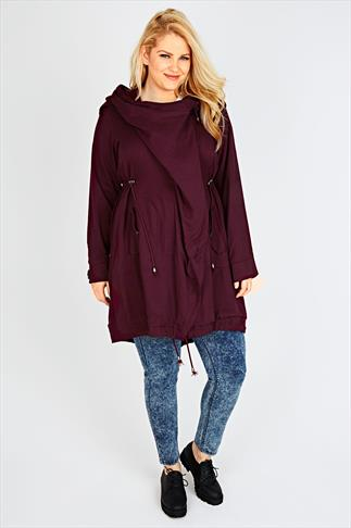 Burgundy Cocoon Shaped Parka Jacket With Drape Front