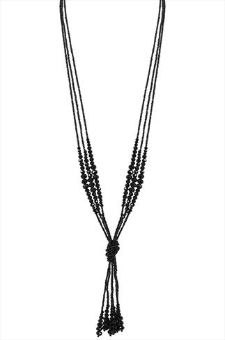 Black Bead Knot Necklace