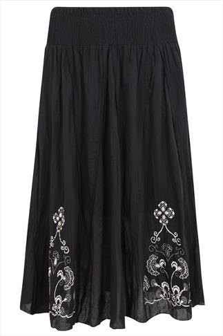 Black Cotton Maxi Skirt With Cream Embroidery Detail