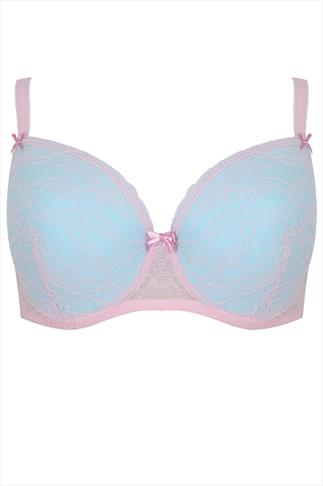 Turquoise & Pink Lace Underwired Plunge Bra