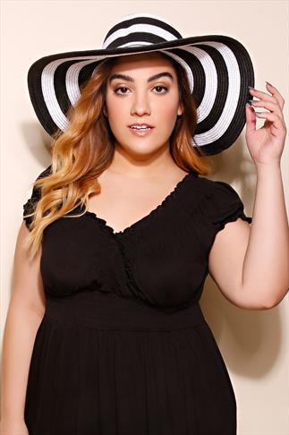 Black & White Stripe Wide Brimmed Straw Hat
