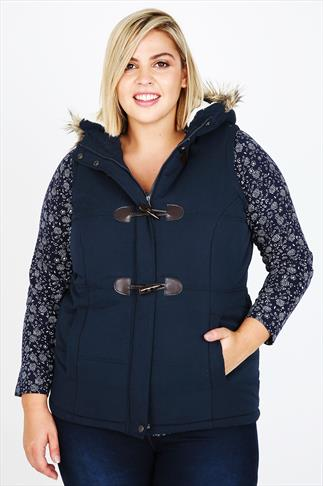 Navy Quilted Gilet With Fur Trim Hood