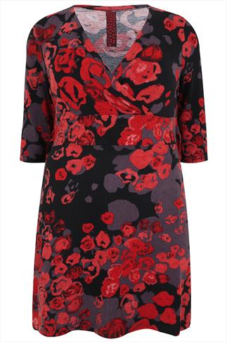 Red, Black and Grey Rose Print Cross Over Tunic