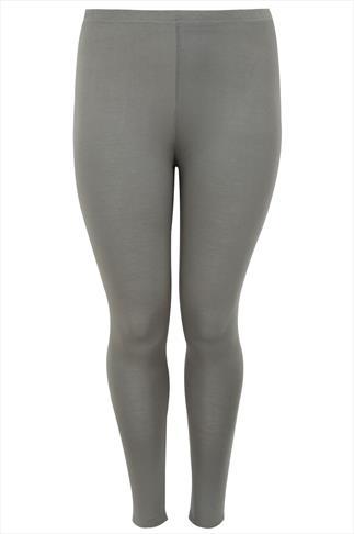 Khaki Full Length Viscose Elastane Leggings