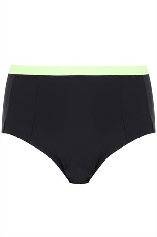 Black & Lime Colour Block Bikini Brief