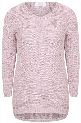 Light Pink Yarn Knit Long Sleeve V-Neck Jumper