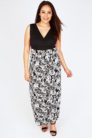Black And White Rose Print Maxi Dress With V-Neckline