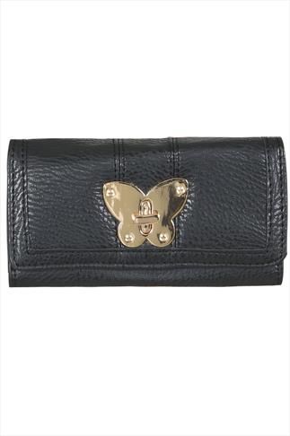 Black Purse With Gold Butterfly Clasp