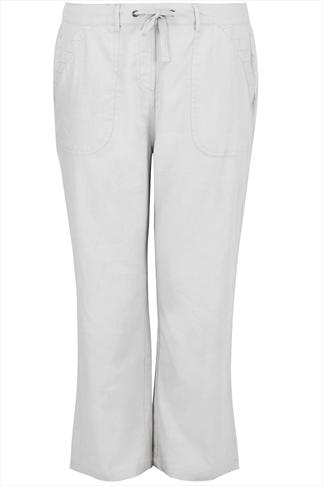White Linen Mix Full Length Trousers With Stitch Detail