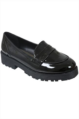 Black Patent Loafer Shoes With Chunky Soles In EEE Fit