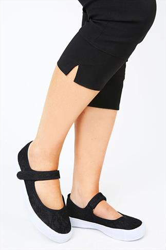 Black Lace Pumps With Velcro Strap In EEE Fit