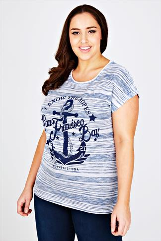 Blue And White Stripe San Francisco Bay Print T-shirt