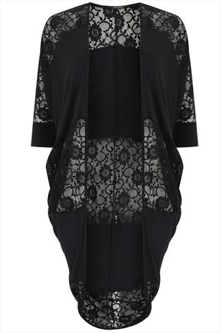 Black Cocoon Cardigan With Lace Back Panelling