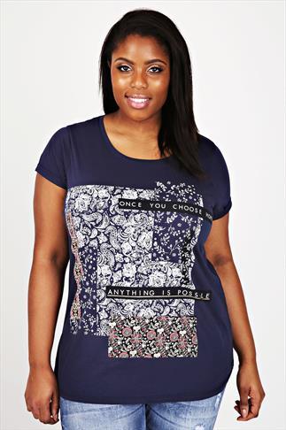 Short Sleeve Paisley Print Slogan T-shirt