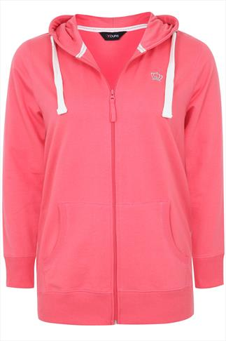 Watermelon Pink Zip Up Basic Hoody With Crown Detail