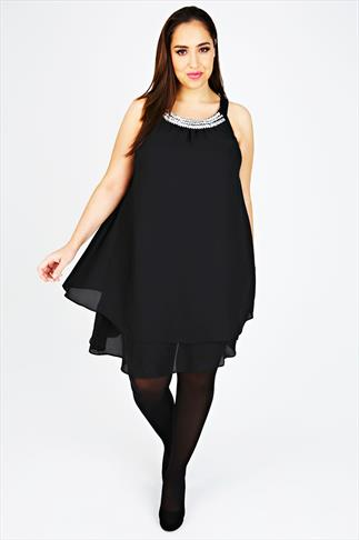 Black Chiffon Sleeveless Swing Dress With Jeweled Embellishment