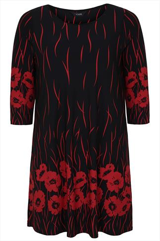 Red & Black Poppy Border Print Tunic With 3/4 Length Sleeves