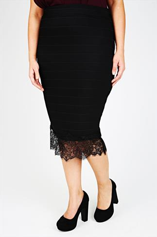 Black Ribbed Skirt With Lace Hem