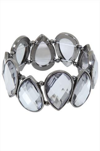 Silver Tear Drop Stone Stretch Bracelet