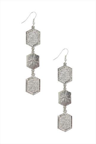 Silver Hexagon Crystal Drop Earrings