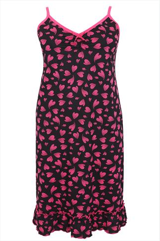 Black & Pink Heart Print Cotton Chemise With Frilled Hem Detail