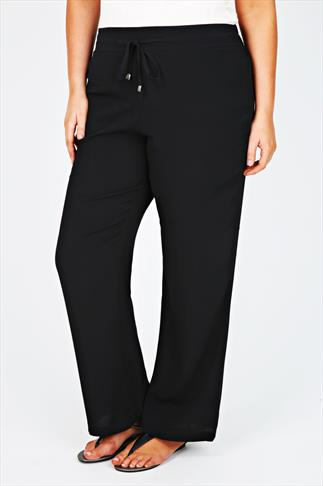 Black Crepe Full Length Palazzo Trousers With Drawstring Detail