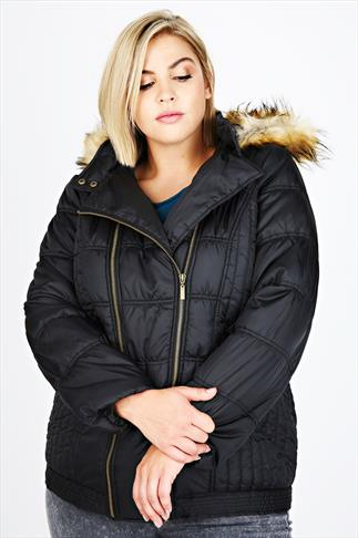 Black Quilted Coat With Double Zip & Fur Trim