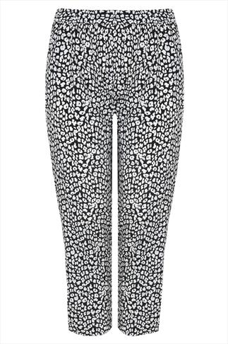 Black & White Animal Print Harem Trousers
