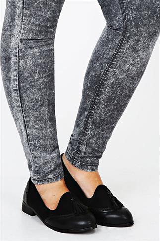 Black Tassel Slip On Brogue Shoes In EEE Fit