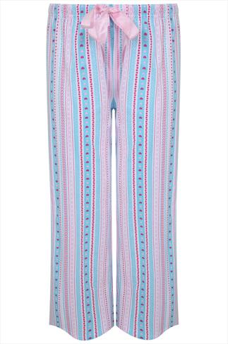 Pink, Blue & White Heart Stripe Pyjama Bottoms
