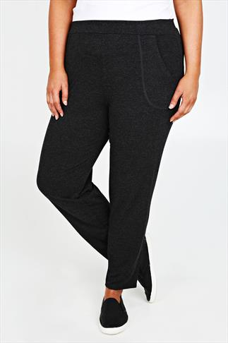 Charcoal Metallic Marl Jersey Trousers With Open Pockets