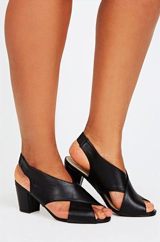 Black Crossover Block Heel Sandal In EEE Fit