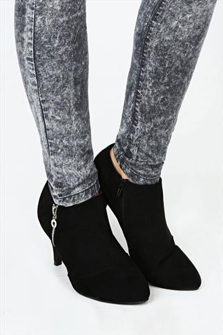 Black Suedette Zip Up Shoe Boots In EEE Fit