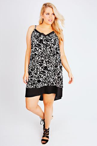 Abstract Print Double Layer Cami Tunic With Frill Neckline