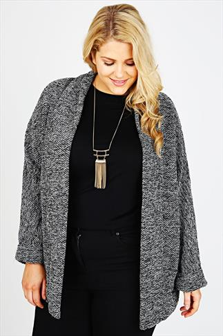 Black And Grey Boucle Boyfriend Jacket With Silver Thread